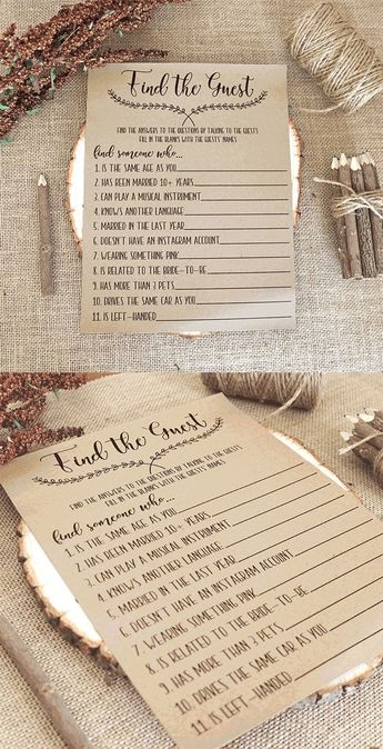 Find the Guest Game . Bridal Shower Games . Printable Instant Download . Rustic, Kraft, Funny, Fun,