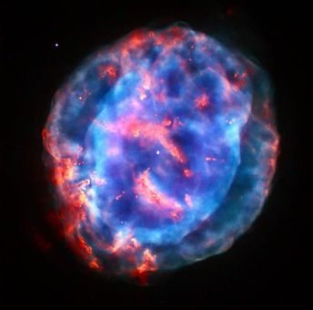 Planetary Nebula NGC 6818 or Little Gem Nebula. It is located in the constellation of Sagittarius (The Archer) roughly 6000 light-years away from us. The rich glow of the cloud is just over half a light-year across  humongous compared to its tiny central star.