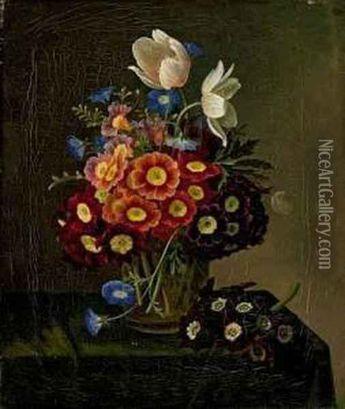 Blumenstillleben Mit Aurikeln Und Oil Painting - William Hammer