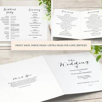 black and white wedding program