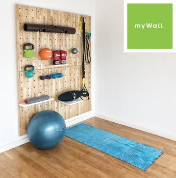 Pegboard load bearing wall system (myWall) provides a multi-use extremely strong storage and display system for gyms. Also perfect for office interiors, schools, retail display etc.