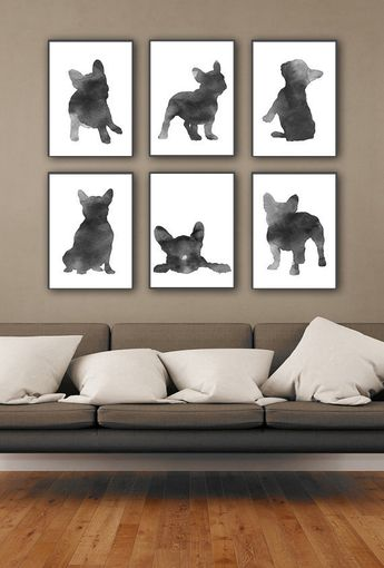 6 French Bulldog Art Prints Grey Home Decor, Black Gray Frenchie Illustration Dog Silhouette, Animal Watercolor Painting Mens Gift IDea