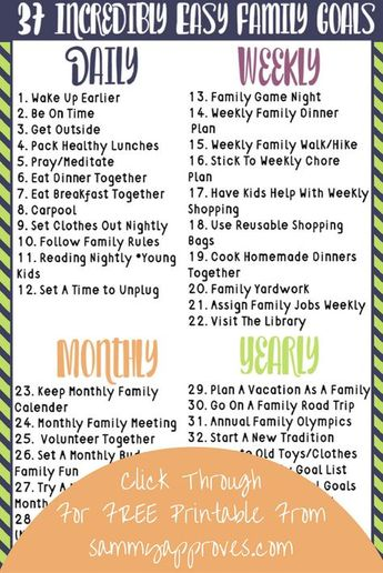 37 Incredibly Easy Family Goals