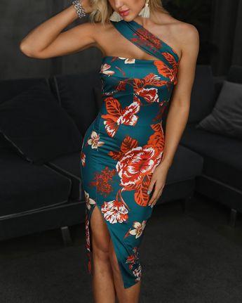 One Shoulder Floral Print Bodycon Dress