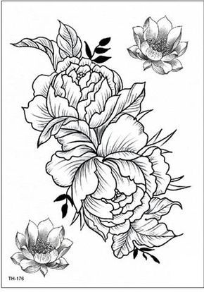 3606a5906 Garnet Delicate Black Peony Flower Outline Temporary Tattoo