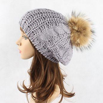 90ceb485763ec Women Warm Wool Knit Beanie Pure Color Thick Bonnet Stripe Crochet Hats  With Fur Ball