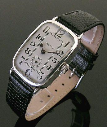 1917 silver rectangular vintage Movado watch