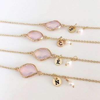 Best friend Bridesmaids Bracelet Gift, 14K Gold Plated, Personalized BirthStones initial Bracelet, flower girl Bracelet, wedding jewelry