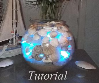 Tutorial for an illuminated sea glass and seashell bowl
