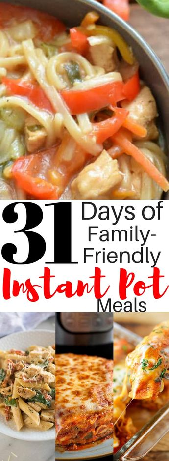 Don't resort to the drive thru to save mealtime during busy nights! Here are 31 Days of Delicious Instant Pot Recipes for your Family. #instantpotrecipes #instantpot #pressurecooker