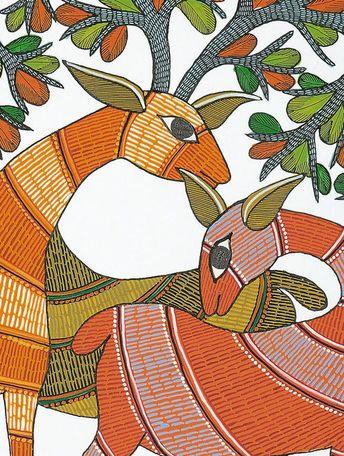Multi-Color Paper Deer Gond Art Painting 14in x 11in