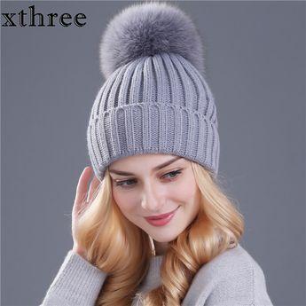 3c98c83a1a1b5  Xthree  real fox fur pom poms ball Keep warm winter hat for women girl