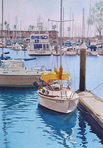 Yellow Sailboat Oceanside by Mary Helmreich - Yellow Sailboat Oceanside Painting - Yellow Sailboat Oceanside Fine Art Prints and Posters for Sale