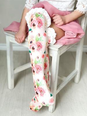 Girls Ruffle Knee High Socks / Peach Floral