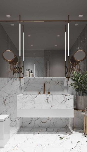 Opção elegante e sofisticada de luminária para ser instalada junto ao espelho do banheiro