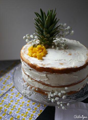 Naked cake mangue-ananas [gâteau d'anniversaire
