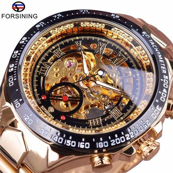 Forsining Stainless Steel Classic Series Transparent Golden Movement Steampunk Skeleton Mens Watches
