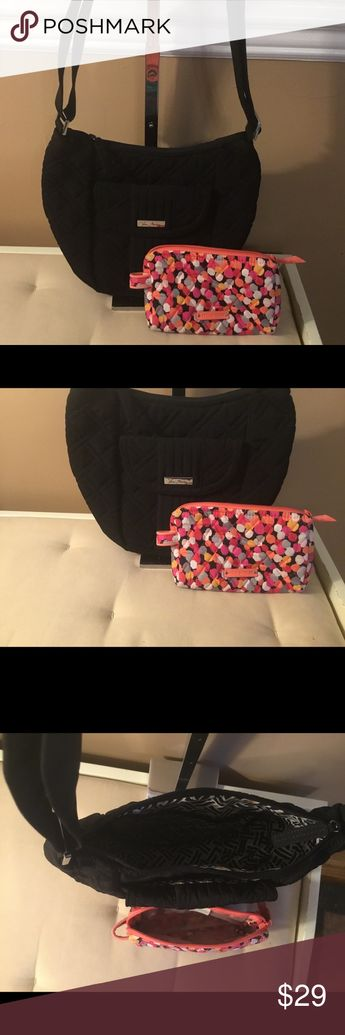 """NWOT Vera Bradley Shoulder Bag & Small Makeup Bag NWOT Vera Bradley Crossbody/Shoulder Bag & Small Makeup Bag.  Should bag is adjustable - shortest length is 14""""; 28"""" for Crossbody.  Two front areas, one with flap and magnetic closure.  Makeup Bag- cover in plastic for easy cleanup. Vera Bradley Bags Crossbody Bags"""
