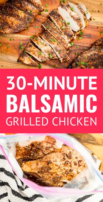 30-Minute Juicy Balsamic Grilled Chicken -- this balsamic grilled chicken breast recipe makes the most juicy & succulent boneless skinless chicken EVER w/ just 4 ingredients   10 minutes of marinating time! AND it's Whole30 compliant. | balsamic chicken marinade | balsamic vinegar chicken marinade | whole30 chicken breast recipes | whole30 chicken marinade | whole30 marinade | balsamic grilled chicken marinade #whole30chicken #whole30chickenrecipes #grilledchickenrecipes #chickenmarinade