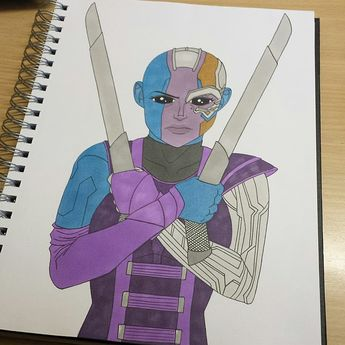 Imma just post this as it is, I'm too intimated to properly colour the metal parts 😅 This is to go along with my Scarlet Witch drawing. A sort of mini series of drawings of my favourite Marvel ladies. I got one more I'm gonna do. Anyway, Nebula is bae and if she stabbed me I'd thank her. • • •  marvel  nebula  marvelcomics  avengers  theavengers  fanart  mcu  marvelcinematicuniverse  marvelfanart  myart  traditionalart  sketchbook  artistsoninstagram  promarkers