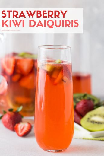 Looking for a new batch cocktail? These Strawberry-Kiwi Daiquiris are the perfect thirst quencher for long lazy nights on the patio! #drinks #cocktails #rum #infusion #daiquiris