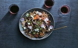 Farro Salad with Roasted Sweet Potatoes, Red Onion, and Goat Cheese