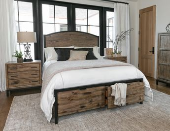 Foundry Panel Bed | welcome charm and function into your space with this panel bed in queen, king, twin & full. Discover the sturdy beauty of solid pine and pine veneers, and experience the allure of a weathered toffee finish and black steel frame. Rugged wood and cool metal also instill your retreat with classic industrial style.