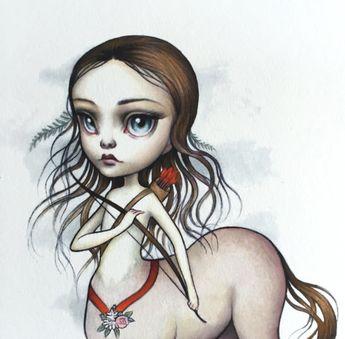 Sagittaire - Zodiac fille signé lowbrow pop surréalisme de 8 x 10 tirage d'Art par Mab Graves-sans cadre