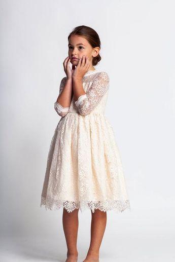 5250a9578 Cream flower girl dress,ivory lace dress,junior bridesmaid dress,formal girls  dress