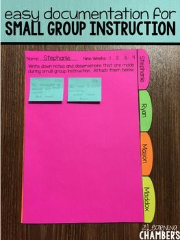 Small Group Instruction Student Documentation Forms: Editable, RTI, Organization