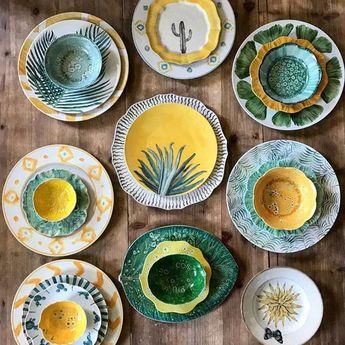 Ceramics by Andrea Zarraluqui @azarraluqui . . . . #ceramics #ceramicart #ceramicartist # #ceramicplates #greenandyellow #madebyhand…