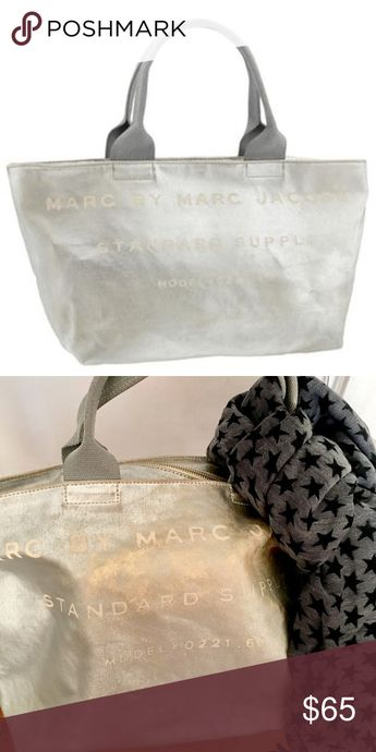 Marc By Marc Jacobs Canvas Bag Marc By Marc Jacobs Standard Supply Canvas Bag, Metaric Silver Color, Pre-Owned, Good Condition, No Damage but The Color has come off entirely other than that Clean! Marc By Marc Jacobs Bags Totes