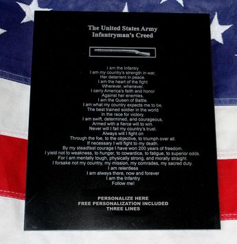 AIRBORNE CREED PLAQUE, 82nd Airborne, military army gift, J