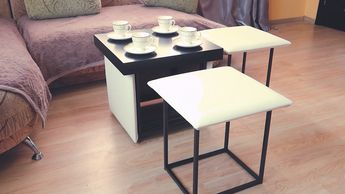 Cube 7 in 1 transformer ottoman,coffee table or 5 chair