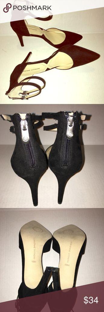 0644853b6b8b Adrienne Vittadini Black Suede Pumps Adrienne Vittadini Black Double Strap  Ankle Black Suede Pumps