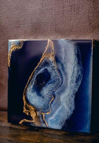 Deep Blue and Gold Geode Art