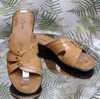 CLARKS BROWN LEATHER OPEN TOE MULES SLIDES DRESS SANDALS SHOES US WOMENS SZ 7 M #Clarks #OpenToe #WeartoWork