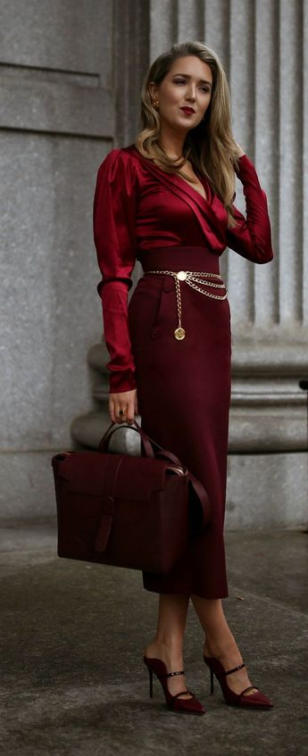 My Actual Favorite Fall Color // Burgundy monochrome outfit with silk-satin blend bodysuit + wrap front detail, high-waist pencil midi-skirt, gold chain vintage belt, multi-functional bag with flap-front closure, satin mules with two foot-framing straps, large vintage gold earrings + dainty gold tag necklace{ Caroline Constas, Sara Battaglia, Senreve, Malone Souliers, Chanel, Tiffany & Co., workwear, fall style, monochrome dressing}