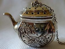 I want this!! Vintage Sterling Tea Pot Strainer Infuser by R Blackinton in Prunus Blossom