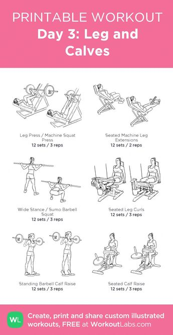 Day 3: Leg and Calves: my visual workout created at WorkoutLabs.com • Click th... - Pinuhouse