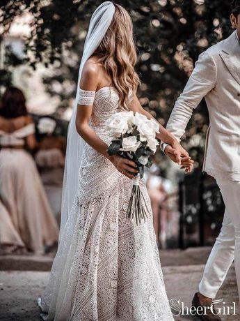 Ivory Lace Beach Wedding Dresses Sweetheart Neck Rustic Boho Wedding Dresses AWD1156