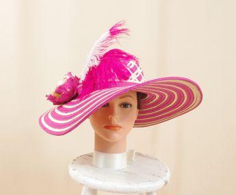 4ba55387ce0 Hot Pink Hat   Pink Straw Hat   Pink and Cream Hat   Wide Brim Hat