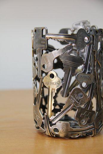 Old Keys Recycling Bedroom Desk Lamp