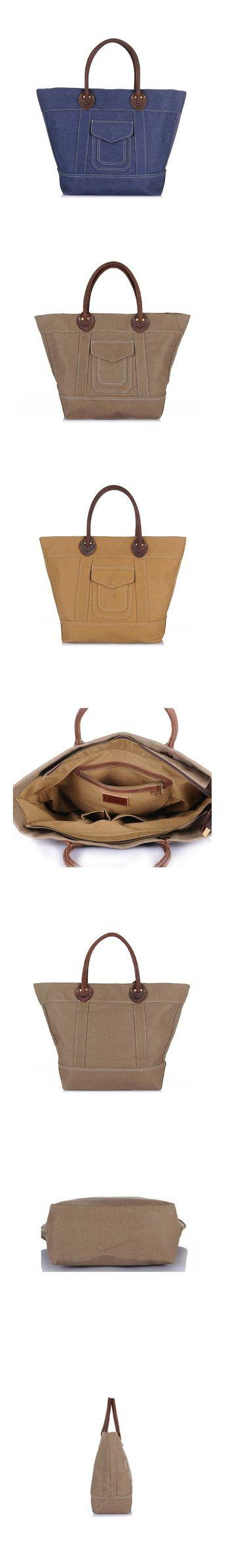 Retro Canvas Men Tote Bag Leather With Canvas Men Travel Shoulder Bag Men  Daily Use Canvas 4d7068acb86be