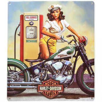 Harley-Davidson Full Service Pinup Babe Metal Sign