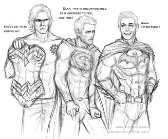YES!!! Of course Dean is Batman and Cas as Superman!!! Yay!!! Sam would make a great Wonder Woman with all that hair haha