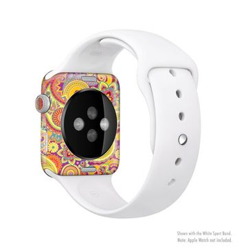 The Neon Orange Paisley Pattern Full Body Skin Set for the Apple Watch