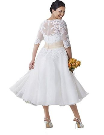 d087704446f Faironline Women s Half Sleeve Tea Length Lace Wedding Dress Plus Size for  Bride