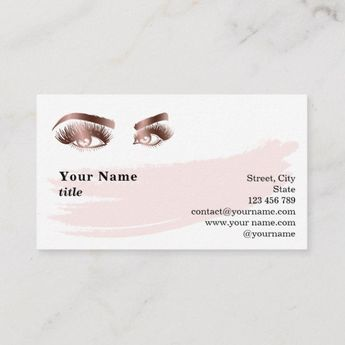 79562f81b0b Makeup Eyebrow Eyes Lashes Rose Gold Marble Business Card | Zazzle.com