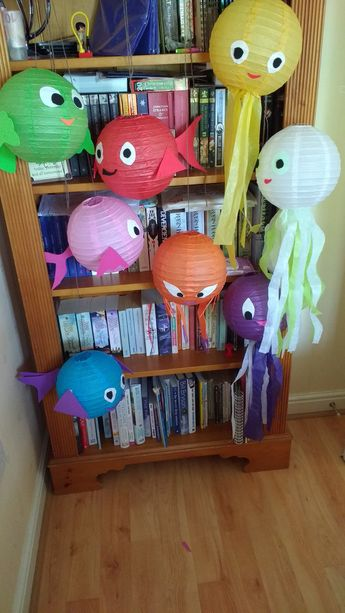 Hanging sea creatures made from Chinese lanterns, tissue paper and funky foam,